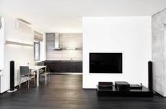 Interior moderno de la cocina del estilo del minimalism fotos de archivo libres de regalías