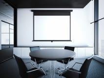 Interior moderno de la oficina con la pantalla de proyector representación 3d libre illustration
