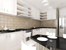 Interior moderno de la representación de la cocina Foto de archivo