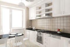 Interior moderno de la representación de la cocina Foto de archivo libre de regalías