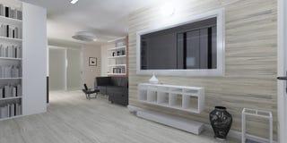 Interior moderno de la representación de la sala de estar Foto de archivo