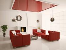 Interior moderno de la sala de estar con la chimenea 3d Foto de archivo