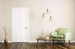 Interior moderno de la sala de estar con la representación de la puerta y de la butaca 3d ilustración del vector