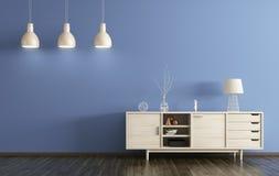 Interior moderno de la sala de estar con la representación de madera del aparador 3d Foto de archivo libre de regalías
