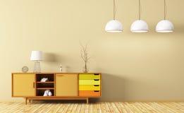 Interior moderno de la sala de estar con la representación de madera del aparador 3d Imagen de archivo libre de regalías