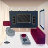 Interior moderno de la sala de estar con la TV y las tecnologías de alta fidelidad libre illustration