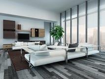 Interior moderno de la sala de estar con los gabinetes de madera fotos de archivo libres de regalías