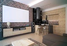 Interior moderno de la sala de estar del desván Foto de archivo libre de regalías
