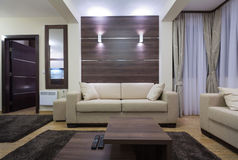 Interior moderno de la sala de estar por la tarde Imagen de archivo