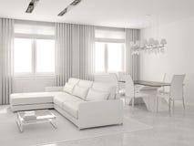 Interior moderno de la sala de estar y del comedor. stock de ilustración