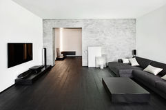 Interior moderno de la sala del estilo del minimalism imagenes de archivo