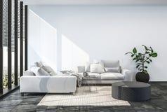 Interior moderno de la sala de estar con la pared blanca Fotografía de archivo