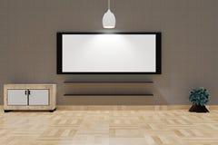 Interior moderno de la sala de estar con un tablero blanco y una pantalla grandes en una pared marrón superior libre illustration
