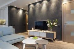 Interior moderno de um apartamento privado pequeno Imagem de Stock Royalty Free