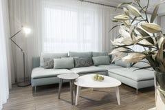 Interior moderno de um apartamento privado pequeno, sala de estar Fotos de Stock Royalty Free