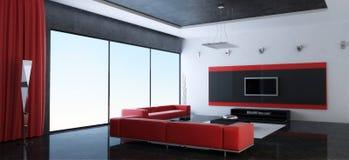 Interior moderno de uma sala de estar com sofás vermelhos ilustração royalty free