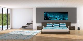 Interior moderno de un dormitorio imagen de archivo