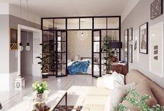 Interior moderno del apartamento Foto de archivo libre de regalías
