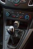Interior moderno del coche con el reloj elegante Fotografía de archivo libre de regalías