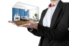 Interior moderno del concepto representación 3d Fotos de archivo libres de regalías