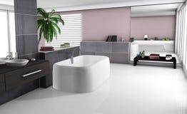 Interior moderno del cuarto de baño stock de ilustración