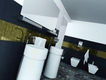 Interior moderno del cuarto de baño con el lavabo y las tejas Foto de archivo