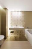 Interior moderno del cuarto de baño con la pintura en colores pastel marrón Foto de archivo
