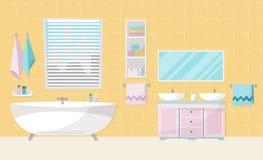 Interior moderno del cuarto de ba?o con la tina Muebles del cuarto de ba?o - ba?o, soporte con dos fregaderos, estante con las to ilustración del vector