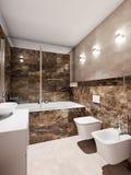 Interior moderno del cuarto de baño con las tejas de mármol beige y marrones Fotos de archivo