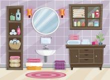 Interior moderno del cuarto de baño con muebles en estilo plano ilustración del vector