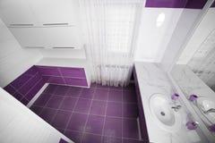 Interior moderno del cuarto de baño con un panel del mosaico foto de archivo