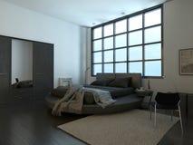 Interior moderno del dormitorio con la ventana enorme Imágenes de archivo libres de regalías