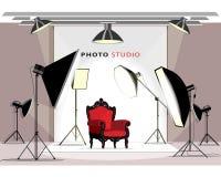 Interior moderno del estudio de la foto con el equipo de iluminación y la butaca Estilo plano ilustración del vector