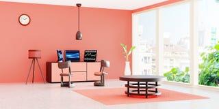 Interior moderno del sitio de trabajo, equipo de escritorio negro 3 en un cajón delante de la pared anaranjada libre illustration