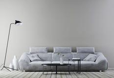 Interior moderno del vintage, sala de estar con la pared vacía para la maqueta, sofá del cuero blanco stock de ilustración