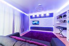 Interior moderno do cinema em casa Imagem de Stock Royalty Free