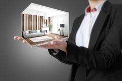 Interior moderno do conceito rendição 3d Fotografia de Stock Royalty Free