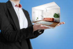Interior moderno do conceito rendição 3d Imagens de Stock