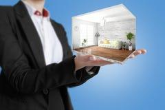 Interior moderno do conceito rendição 3d Fotos de Stock Royalty Free