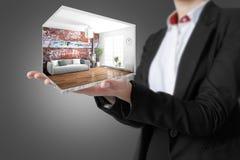 Interior moderno do conceito rendição 3d Imagem de Stock Royalty Free