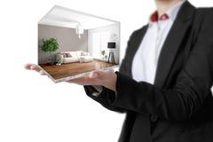 Interior moderno do conceito rendição 3d Foto de Stock Royalty Free