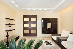 Interior moderno do Drawing-room em tons mornos imagem de stock royalty free