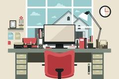 Interior moderno do escritório no projeto liso Imagem de Stock Royalty Free