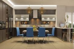 Interior moderno do estilo da sala de visitas com a cozinha em cores marrons com sofá azul ilustração stock