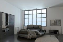 Interior moderno do quarto com janela enorme ilustração royalty free