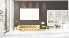 Interior moderno elegante do sótão com quadro vazio Fotos de Stock Royalty Free