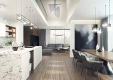 Interior moderno, elegante y espacioso con la visión maravillosa ilustración 3D stock de ilustración