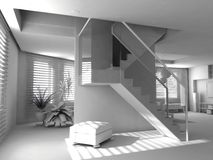 Interior moderno em branco Fotos de Stock