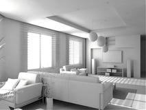 Interior moderno en blanco Imágenes de archivo libres de regalías
