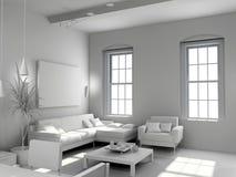 Interior moderno en blanco Fotos de archivo